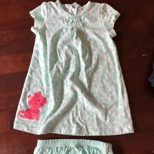 Pretty green and white heart dress